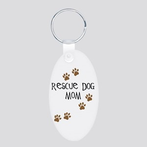 Rescue Dog Mom Aluminum Oval Keychain