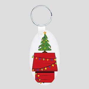 Holiday Dog House Aluminum Oval Keychain