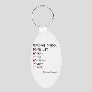 Nursing Student To-Do List Aluminum Oval Keychain