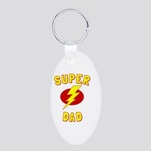 Super Dad Aluminum Oval Keychain