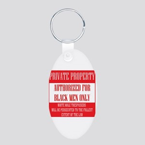 Private Property Aluminum Oval Keychain