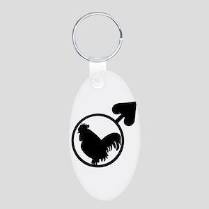 Black Cock Aluminum Oval Keychain