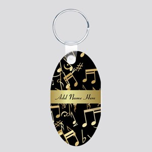 designer gold Musical notes Aluminum Oval Keychain
