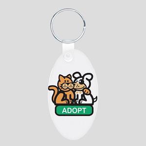 adopt animals Aluminum Oval Keychain