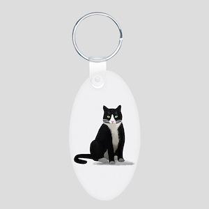 Black and White Tuxedo Cat Aluminum Oval Keychain