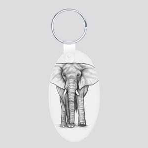 Elephant Drawing Aluminum Oval Keychain