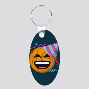 Basketball Party Emoji Aluminum Oval Keychain