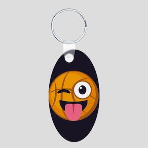 Basketball Tongue Emoji Aluminum Oval Keychain