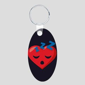 Heart Sleeping Emoji Aluminum Oval Keychain