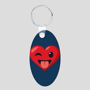 Heart Joking Emoji Aluminum Oval Keychain