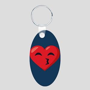 Heart Kissy Face Emoji Aluminum Oval Keychain