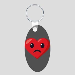 Heart Frowning Emoji Aluminum Oval Keychain