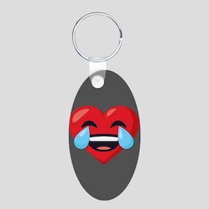 Heart Laugh Tears Emoji Aluminum Oval Keychain