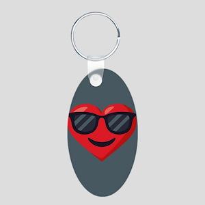Heart Sunglasses Emoji Aluminum Oval Keychain