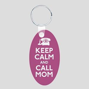 Keep Calm and Call Mom Aluminum Oval Keychain