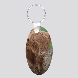 Young Highland Cow Aluminum Oval Keychain