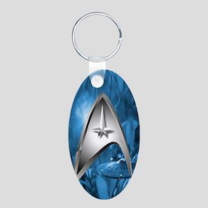 blue star trek case Aluminum Oval Keychain