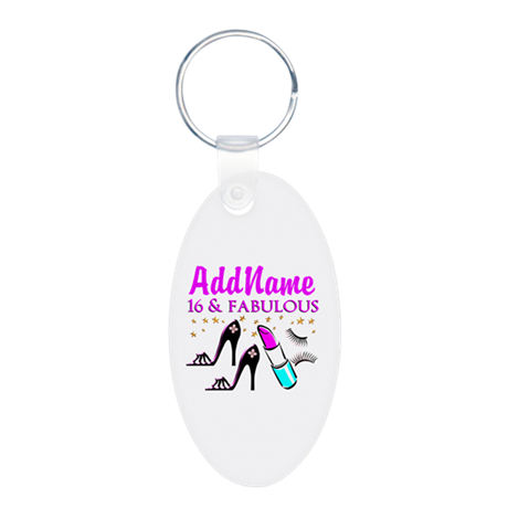 SNAZZY 16TH Aluminum Oval Keychain