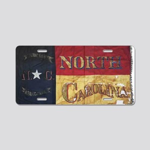 NC Flag Faded Aluminum License Plate