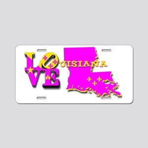LOUISIANA LOVE PURPLE GOLD Aluminum License Plate