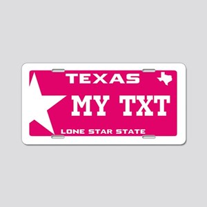 Pink Texas Aluminum License Plate