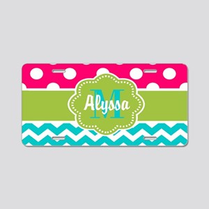 Pink Green Teal Chevron Personalized Aluminum Lice