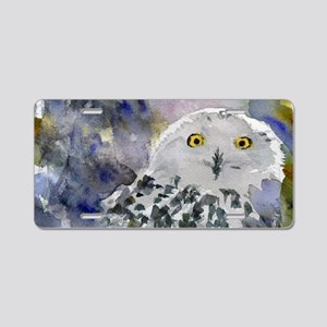 Snowy Owl Aluminum License Plate