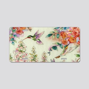 hummingbirds and flowers Aluminum License Plate