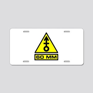 60mm Mortar Warning Aluminum License Plate