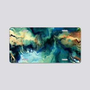 Abstract Blue Oil Painting Aluminum License Plate