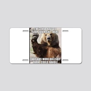 humorous bear Aluminum License Plate
