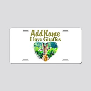 LOVE GIRAFFES Aluminum License Plate