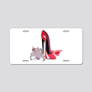 Red Stiletto Shoes and Lilies Aluminum License Pla