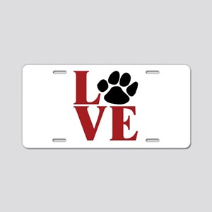 Love Paw Aluminum License Plate