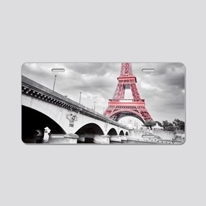 Pink Eiffel Tower Aluminum License Plate