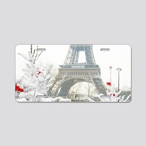 Winter in Paris Aluminum License Plate