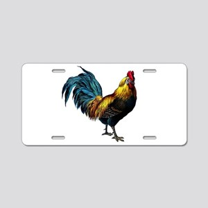 Vintage Rooster in Teal, Gold and Brown Aluminum L