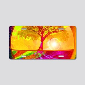 Gold Sunlight Tree of Life Aluminum License Plate