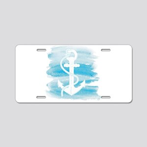 Watercolor Anchor Aluminum License Plate