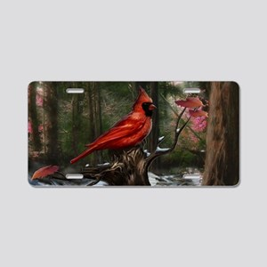 cardinal bird art Aluminum License Plate