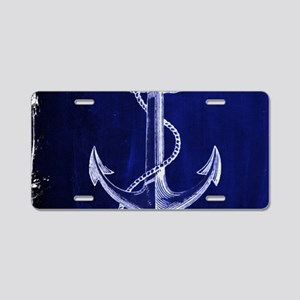 nautical navy blue anchor Aluminum License Plate