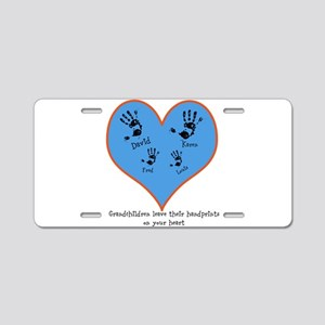 Personalized handprints 4 grandkids Aluminum Licen