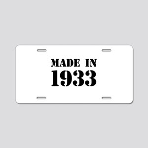 Made in 1933 Aluminum License Plate
