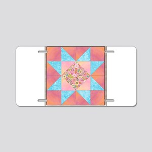 Sunset and Water Quilt Squa Aluminum License Plate