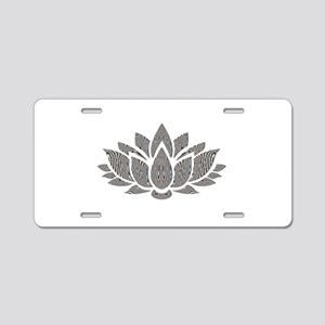 black and white lotus Aluminum License Plate