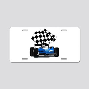 Blue Race Car with Checkere Aluminum License Plate