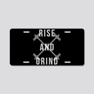 Rise and Grind Aluminum License Plate