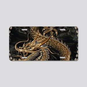 Gold Dragon Aluminum License Plate