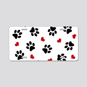 Paw Prints and Hearts Aluminum License Plate