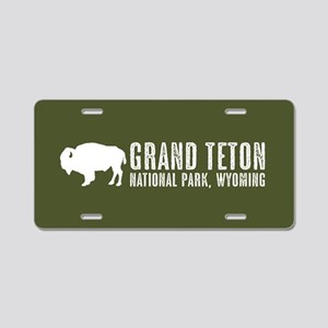 Bison: Grand Teton, Wyoming Aluminum License Plate